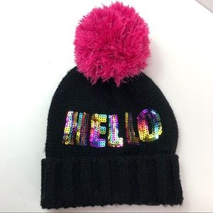 New Claire's Hello Girls Beanie  Black Knitted Hat